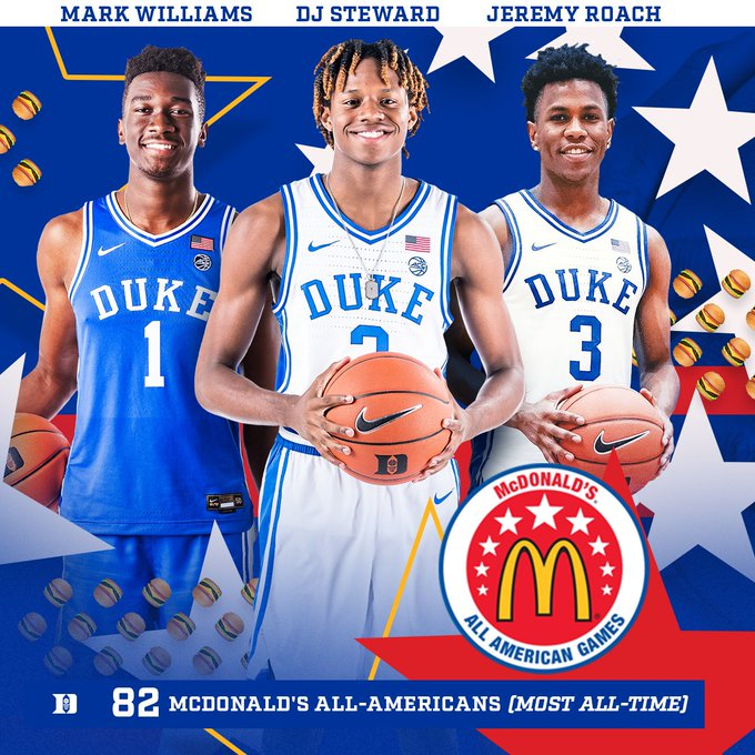 Congrats to Duke Signees Jeremy Roach (@Jeremyroach10), DJ Steward (@swipasnipa) & Mark Williams (@MarkWi1liams) on being Named McDonalds All-Americans