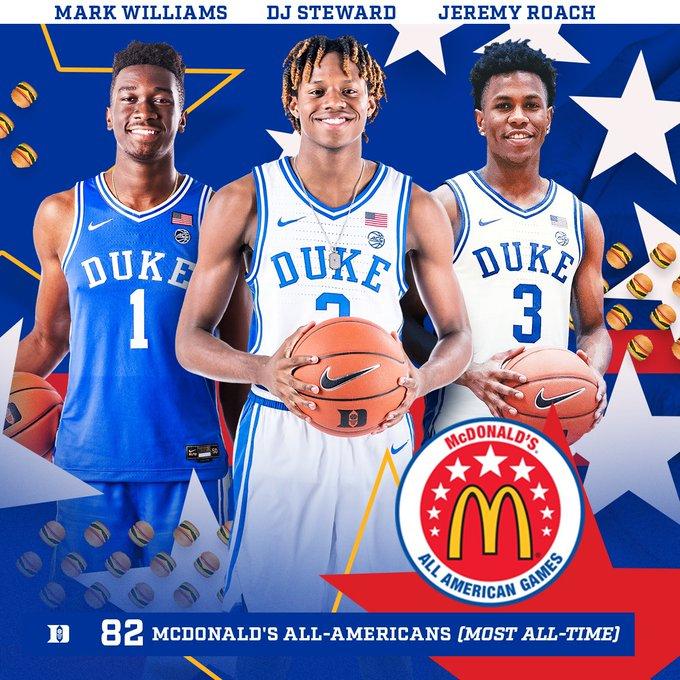 Congrats to Duke Signees Jeremy Roach (@Jeremyroach10), DJ Steward (@swipasnipa) & Mark Williams (@MarkWi1liams) on being Named McDonalds All-Americans
