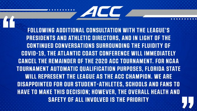 ACC cancels the 2020 ACC Tournament