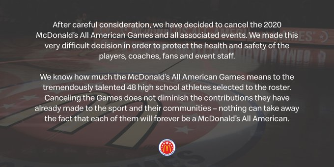 Of Note to Recruiting Fans: 2020 McDonald's All American Games & All Associated Events Cancelled