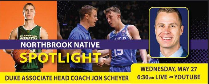Live Q & A w/ Duke Associate Coach @JonScheyer Tonight with Northbrook Park District
