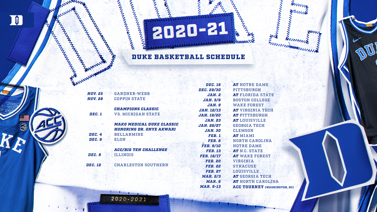 Duke Blue Devils 2020-21 Men's Basketball Schedule Announced